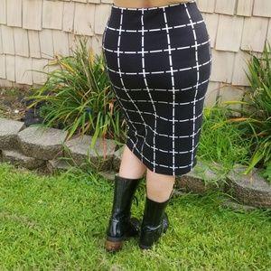 Lulus Black White Cross Goth Midi bodycon skirt ML